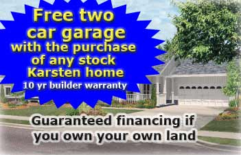 Free two car garage with the purchase of a new home